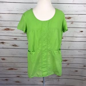 Doncaster Boxy Artsy Green Tunic Top